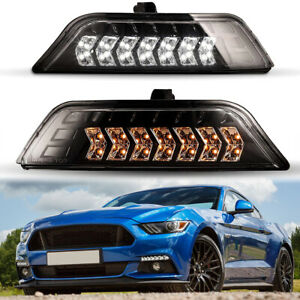 2Pcs Front Grills Bumper Driving Halogen Lamp Fog Lights For Ford Mustang 15-17