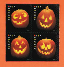 US Jack-O'-Lanterns Halloween Stamps a PLATE block of 4 stamps ~ MNH 2016