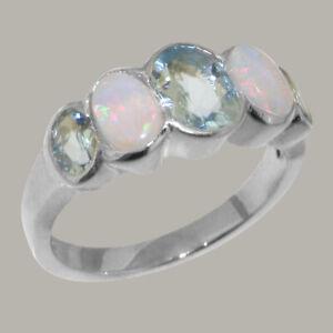 Solid 925 Sterling Silver Natural Aquamarine & Opal Womens Band Ring