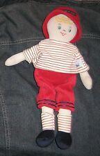 Sucre d'orge Doudou garçon velours/poupée 32 cm  rouge et blanc en TBE