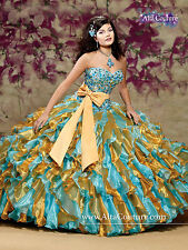 NEW Alta Couture by Mary's XV Quinceanera Dress 4T102 Turquoise/Gold Size 6