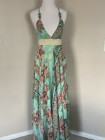 Tricia Fix Anthropologie S Multi Abstract Halter Maxi Cruise Dress Flawed