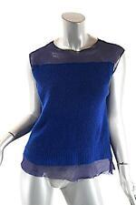 DRIES VAN NOTEN Cerulean Blue Cashmere Tank Sweater w/Navy Silk Liner - NICE - M