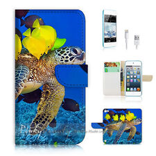 ( For iPod 5 / itouch 5 ) Flip Case Cover! Turtle Fish Ocean View P0398