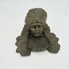 Antique American Indian Chief Inkwell