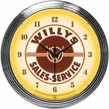 Jeep Willys Sales Service w Orange Neon Clock - Great for Garage Office Man Cave