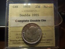 CANADA 25 CENTS 1955 DOUBLE DIE, ICCS MS-64 DOUBLE DATE !!!!