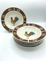 Gibson Brewster Rooster Rimmed Pasta Bowls Red Panels Sunflowers Set of 6! EUC