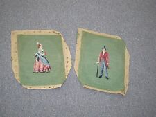 "Pair @ 2 Vintage Older Finished Needlepoint - Hand Stitched -  10"" x 8"""