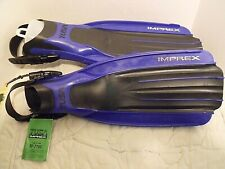 Tusa Imprex Open Heal Scuba Snorkel Fins Black/Blue Sf-7700 Adult Adjustable New