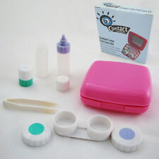 Contact Lens Case Kit Mirror Travel Full Care Compact Bottle Mini Set Pink New !