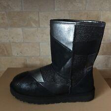 UGG Classic Glitter Patchwork Black Suede Fur Sparkle Short Boots Size 8 Womens