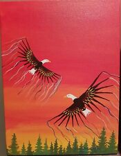 "Fancy Eagles 9x12"" Ojibwe original art Native Canadian bald eagle"