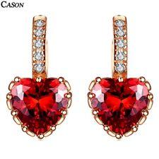 Red Heart Cubic Zirconia Wedding Hoop Earrings Hot Women 18k Rose Gold Jewelry
