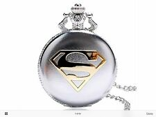 SuperMan Silver Pocket Watch Pendant Necklace