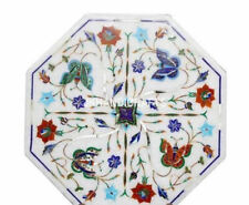 "12"" Marble Side Table Top Rare Inlay Art Pietra Dura Floral Inlay Home Decor"
