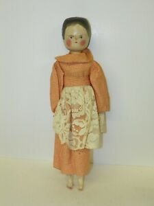 """Antique Penny Peg Dutch Wood Wooden Peg Hand Crafted 12"""" Doll With Clothes"""