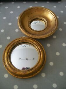 PAIR OF ANTIQUE DESIGN GOLD ROUND PORTHOLE CONVEX WITCHES FISHEYE MIRRORS