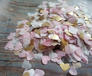 2 HANDFULS WHITE & SOFT PINK AND GOLD HEARTS CONFETTI WEDDING/THROWING/ECO