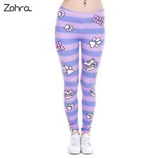Zohra Hot Sales Fashion Women Leggings Pusy Power Pink Stripes Printing Cats ...