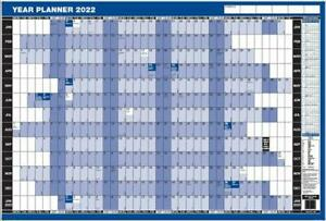 2022 LAMINATED 'YEAR WALL PLANNER' - MOUNTED OR UNMOUNTED APPRX A1 - 91cm x 60cm