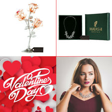 Matashi Rose Gold and Chrome Plated Rose Flower with Rhodium Plated Necklace