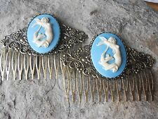 PAIR OF MERMAID CAMEO BRONZE FILIGREE HAIR COMBS - VACATION, CRUISE, TROPICAL LG