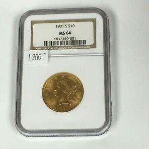 1901 NGC MS64 United States Liberty Head Gold Eagle $10 Gold Coin