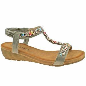 Cipriata womens jewelled slingback low wedge heel sandals 072 Col Pewter sz UK 9