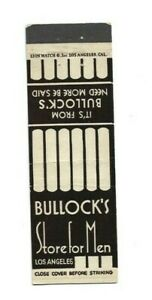 Vintage Matchbook Cover Bullock's Store For Men Los Angeles CA A733