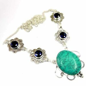 """125.00Cts Turquoise & Amethyst Topaz Silver Overlay Handmade Necklace 21"""""""