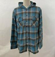 Loser Machine Men's LS Button Down Shirt Guardrail Teal/Brown/Grey Size XXL NWT