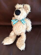"Jellycat Sandy Golden Scruff Puppy Dog 10"" Soft Toy Plush Teddy Green Neck Bow"