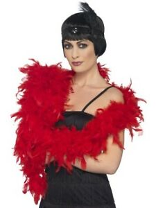 Deluxe Feather Boa Rocky Horror Fancy Dress Accessory 180cm 80g Red Boa