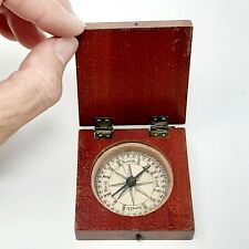 "Antique Miniature Maritime Pocket Compass 2"" Square Wooden Case 1800's Working"