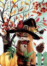 Morigins Fall Leaves Yard Autumn Bird Wizard Cat Pumpkin Halloween Garden Flag