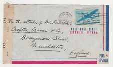 USA TO MANCHESTER, ENGLAND 1945  WITH HELPFUL CENSOR/COMMERCIAL COVER