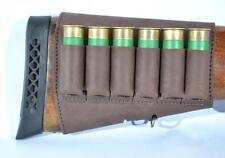 Shotgun Buttstock 6 Shell Holder Leather Cartridge 12 GA Brown Ammo Rifle Retro