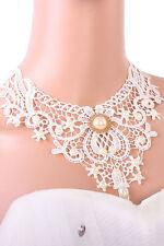 Damas Blanco Encaje Vintage Collar Gargantilla Victoriana Collar De Perlas