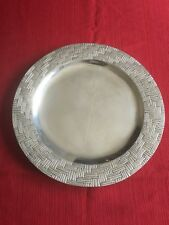 Metal Pewter Alloy Art Large Plate Charger Plate Basket Weave Art Collectible