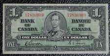 BANK OF CANADA 1937 $1 NOTE-Prefix H/A-Signed Gordon & Towers-Narrow Panel-RARE