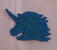 Embroidered Retro 80s Aqua Blue Glitter Sparkle Unicorn Applique Patch Iron On