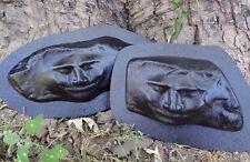 Two fun face molds plastic concrete plaster casting rock moulds
