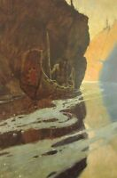 Vintage Art N C Wyeth In the Crystal Depth 1906 Native Canoe Reflection Tribal