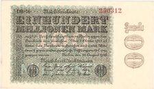 Alemania 100 Millones De Mark 1923 P-107e.1 UNC híper inflación Reichsbanknote