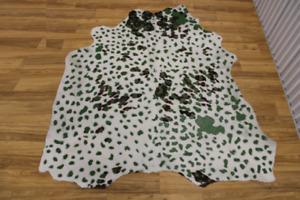 "Acid Wash Green on Brown & White Cowhide Rug - (XL 6'10""x6'2"" Ft)"