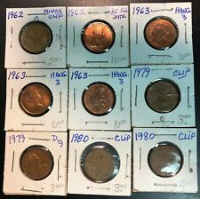Lot of 9x Canada ERROR 1 Cent Pennies - Various Dates and Errors