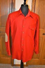 Vtg Men's Pendleton 100% Virgin Wool Bf Shirt Large Red Mint Suede Elbows