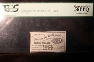 1863 $20 Confederate States of America Bond Coupon PCGS 58 PPQ Choice New