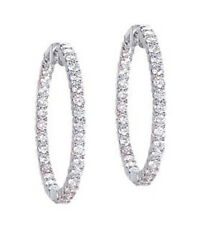 7 carat Round Diamond 14k White Gold Hoop Earrings 70 x 0.10 ct 1.75 inch